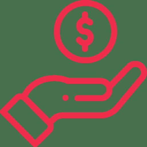 LJV CPA | Icône rouge détouré d'une main et d'un signe de dollar